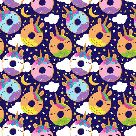 Seamless Vector Background with Unicorn Themed Donuts  イラスト・ベクター素材