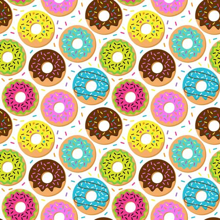 Seamless Vector Background with Doughnuts and Sprinkles  イラスト・ベクター素材