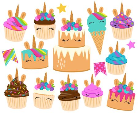Cute Vector Collection of Unicorn Themed Desserts and Birthday Decorations Imagens - 132020086