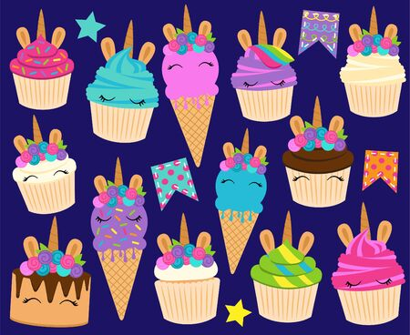 Cute Vector Collection of Unicorn Themed Desserts and Birthday Decorations Imagens - 132018425