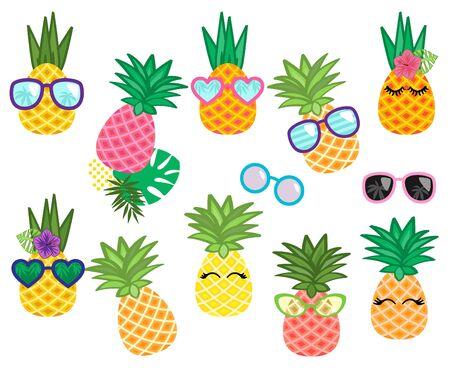 Vector Collection of Cute Kawaii Pineapples Иллюстрация