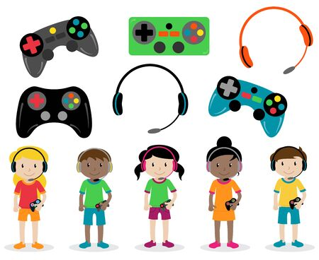 Vector Set of Gamer Themed Controllers and Headphones and Gamer Kids