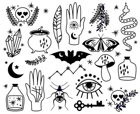 Collection vectorielle de symboles et graphiques occultes et magiques Vecteurs