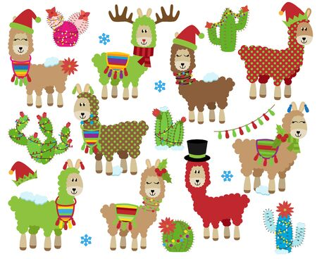 Vector Collection of Cute Christmas or Winter Holiday Themed Llamas Ilustração