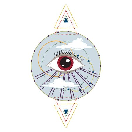 Vector Illustration of an All-Seeing Occult or Masonic Eye