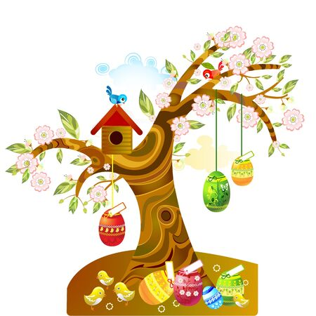 arbol de pascua: Los huevos de Pascua Vectores