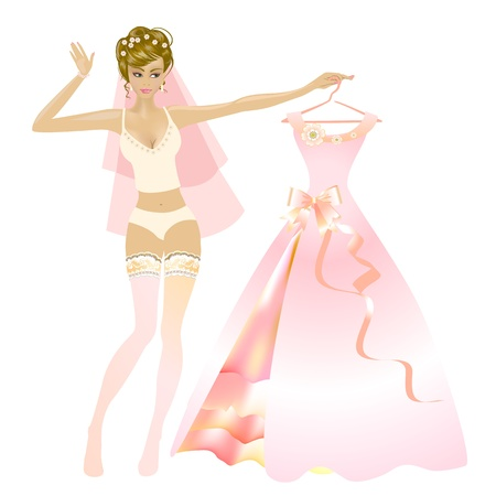 bride trying the wedding dress Vector
