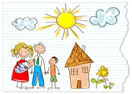 bambini disegno: Bambini che disegnano famiglia felice in una pace di carta