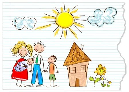 Kinderen tekenen gelukkige familie op een stuk papier Stock Illustratie