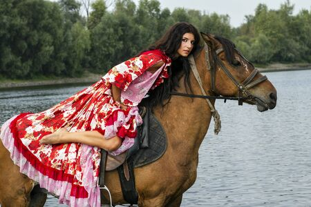 animal watching: Girl riding a horse