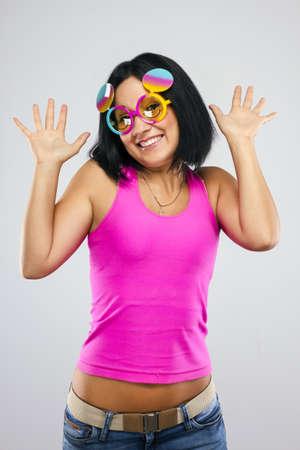 funny glasses: The girl in funny glasses