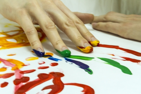 art therapy: spontaneous painting Stock Photo