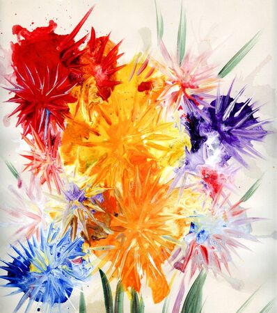spontaneous painting: Drawn asters Stock Photo