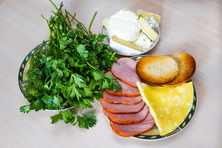 calorie rich food: breakfast Stock Photo