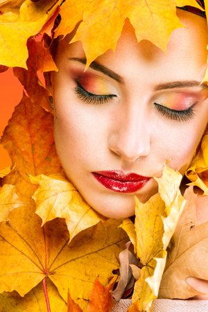 drowsiness: Woman with beautiful make-up in the image of the autumn