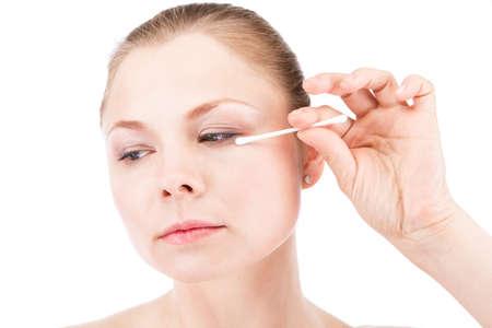 cheekbones: Wipe makeup Stock Photo