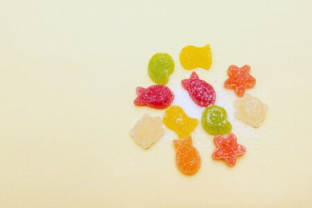 shaped: Fruit-shaped figures in a marine style on a background with space for text. Stock Photo