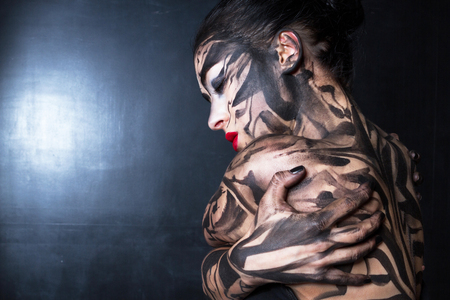 conscience: A painted woman. Stock Photo