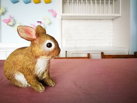 Easter bunny on the table.