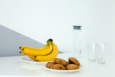 Food and dishes for a snack. Stock Photo