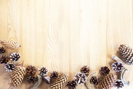Cones and other Christmas decorations. Standard-Bild