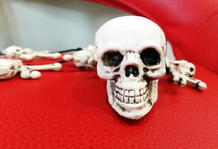 Skull on a red background.
