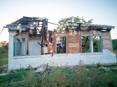 Destroyed and burnt building.