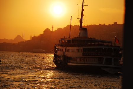 Sunset on the Bosphorus Boat Stock Photo - 666884