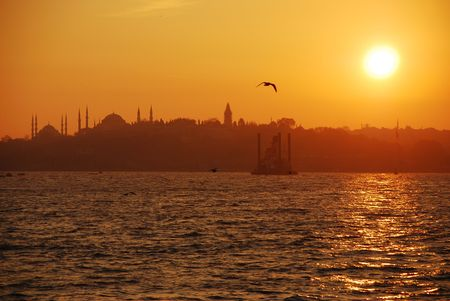 sunset on istanbul city