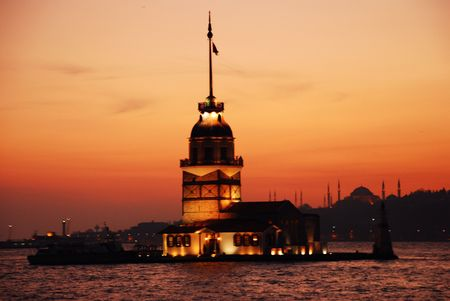 Maiden Tower in Ýstanbul at sunset. Stock Photo