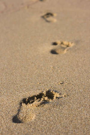 footstep: Footprints in the sand of a beach - Sardinia, Italy