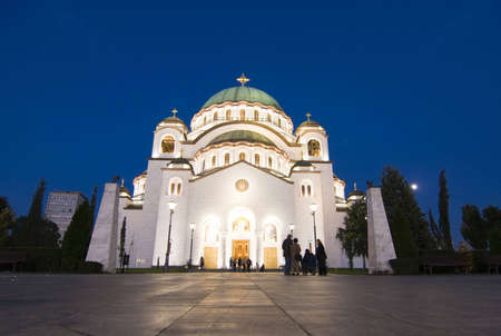 The impressive church of saint Sava in the center of the serbian city Belgrade in the evening photo