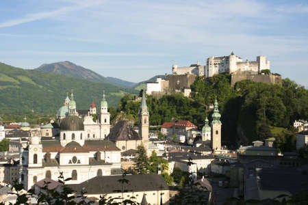 Salzburg seen from the M�nchsberg on a spring day photo