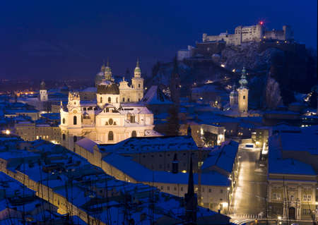very cold: the oldtown of Salzburg in a very cold winter evening Stock Photo