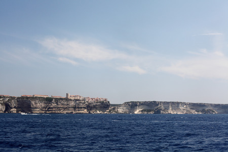the town Bonifacio seen from the sea side - Corsica photo