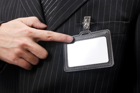 formalism: business men with his id card