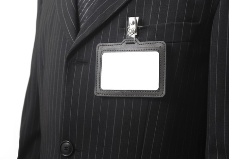 blank id card on suit  photo