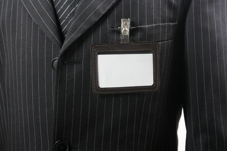 suit with blank id card