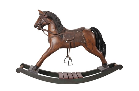 juguetes antiguos: Vintage caballo balancín aislado en blanco
