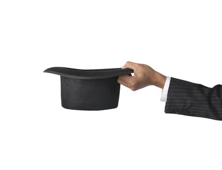 conjuring: top hat with hand  Stock Photo