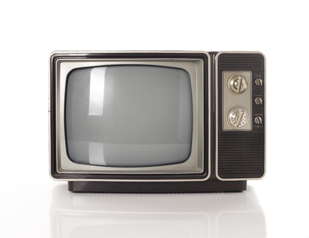 old fashioned tv: old tv isolated on white  Stock Photo