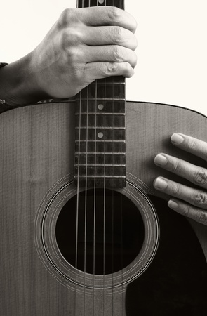 guitar and hand  photo