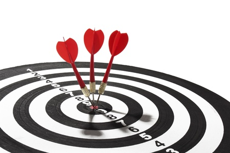 dart board: red dart hitting a target board, concept for business success and marketing Stock Photo
