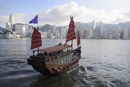 ferries: Chinese Boat with Victoria Harbo. Hong Kong