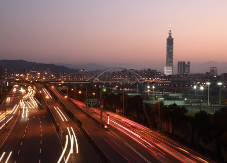 Taipei night scene with cars motion lights  photo