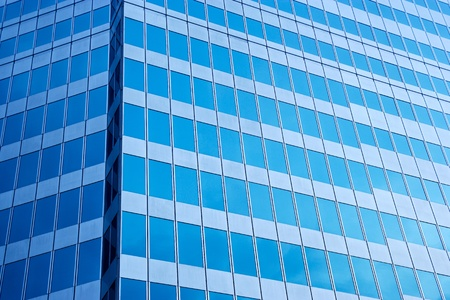 commercial real estate: modern blue glass wall