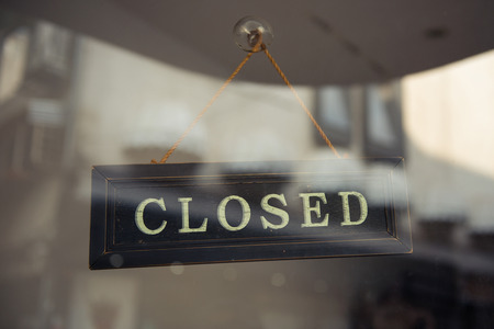 out of doors: Business Closed  Stock Photo