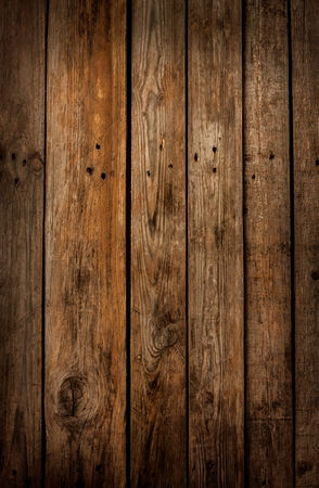 Old vintage planked wood board - rustic or rural background with free text space Banco de Imagens