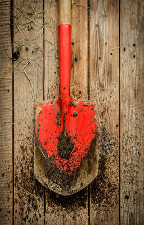 red soil: Dirty red spade (gardening tool) covered with soil on vintage rustic wooden background from above (top view). Layout with free text space.