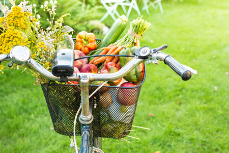 Bicycle basket filled with fresh vegetables and romantic wild-flower bunch. Gardening or healthy countryside lifestyle concept. Outdoor garden scenery as background. Sunny summer weekend mood.